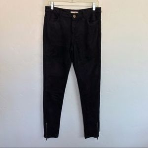 Skies Are Blue Black Faux Suede Moto Style Pants S